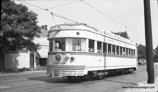 The former Indiana Railroad car 55, newly transformed into LVT 1030, at 8th and St. John streets on September 17, 1941. This is the rear of the car. Presumably, it's making a backup move. The success of LVT's 1938-39 modernization program encouraged management to buy one more car, which became the jewel of the fleet. Note the rounded rear end as opposed to the squared-off ends of the similar ex-Cincinnati & Lake Erie cars. The difference is that the IR lightweights could operate in multiple units, and hence needed more clearance for turning.