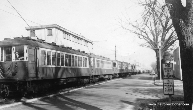 "CTA 4357 at South Boulevard and Maple in October 1952, at the west end of the Lake Street ""L"" when it ran on the ground."