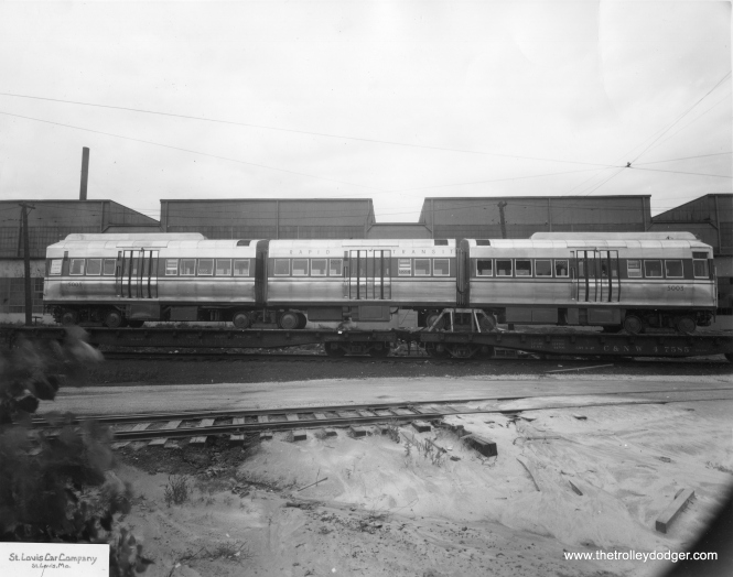 Brand-new CTA 5003 on C&NW flatcars in 1948. (St. Louis Car Company Photo)