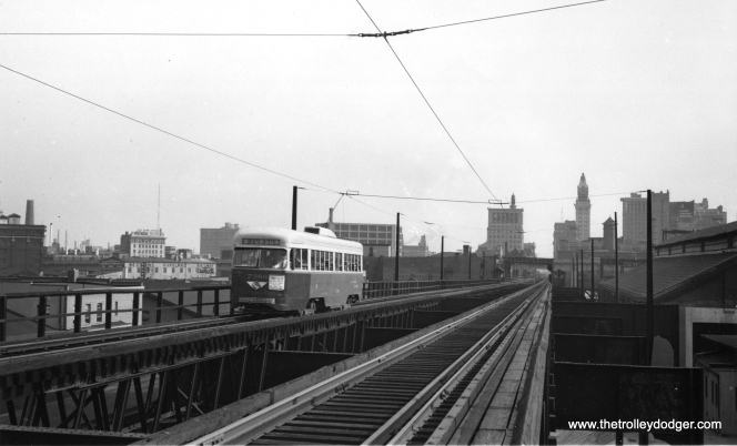 The Guiford Avenue el in Baltimore, circa 1949. (Lester K. Wismer Photo)