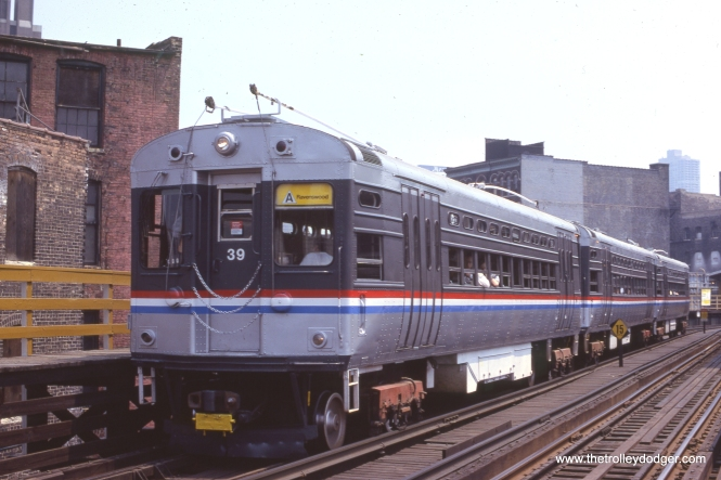 "A rare CTA three-car train of singe car units on the Ravenswood (Brown Line) ""L"" on May 28, 1978. In general, three-car trains resulted from one of the cars in a four-car train being taken out of service. This picture was taken at Chicago Avenue. (Gordon E. Lloyd Photo) It's been pointed out to me that this picture was taken on a Sunday, during a time when the Ravenswood did not run on Sundays. So, this was a fantrip train that would have had the run of the Ravenswood south of Belmont. This picture looks like it was taken at track level. Now the Brown Line runs downtown seven days a week. Gordon Earl Lloyd (1924-2006) was a well-known railfan author and photographer."