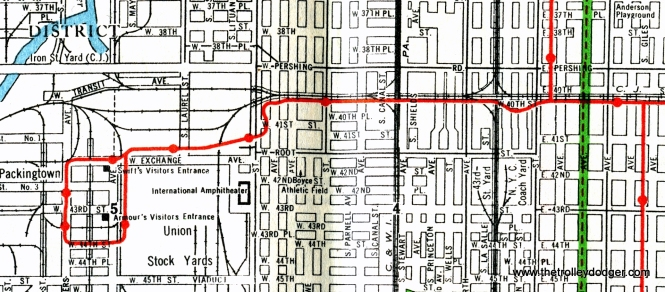 "An early 1940s map of the Stock Yards branch of the ""L"". Indiana station is just to the right of the green line. You can see how the Chicago Junction ran parallel to the ""L"" just to the north. The Stock Yards branch was abandoned in 1957, shortly before Kenwood."