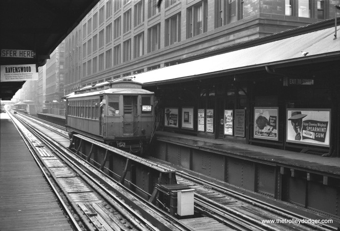 "A Douglas Park ""L"" train, signed to go to Lawndale, at Randolph and Wabash. CTA had a small storage yard at Kenton, which was abandoned in the early 1950s."