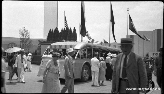 A Bowen bus at the Texas Centennial Exposition in 1936. (J. Elmore Hudson Photo)