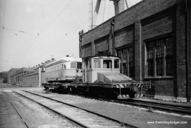 CTA 7142 is on a flatcar in August 1958, ready to be pulled by locomotive L-201 to an interchange for its trip to St. Louis for scrapping and parts recycling for rapid transit cars. (Jay Viena Photo)