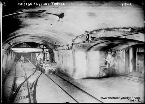 Tracks and train cars in Chicago freight tunnel. (Bain News Service photo, George Grantham Bain Collection, Library of Congress)