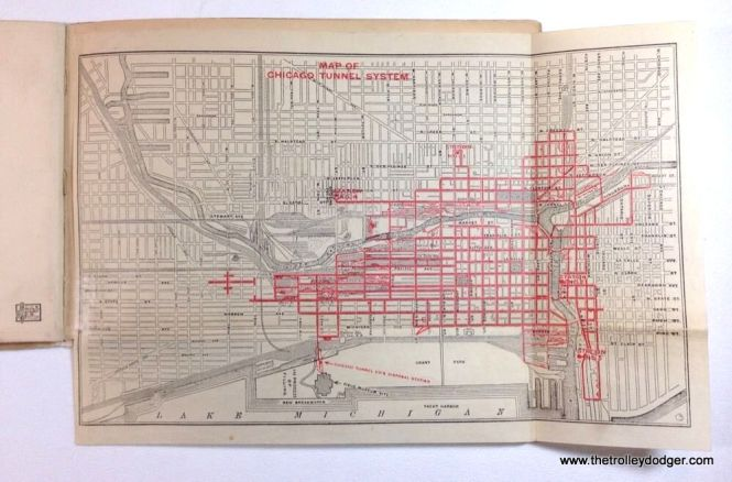 A 1915 map of the very extensive Chicago freight tunnel system.