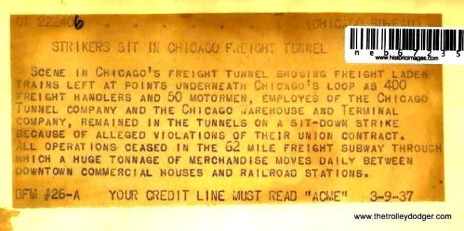 Not all was sweetness and light in Chicago's freight tunnels, as this press account of a 1937 sit-down strike indicates.