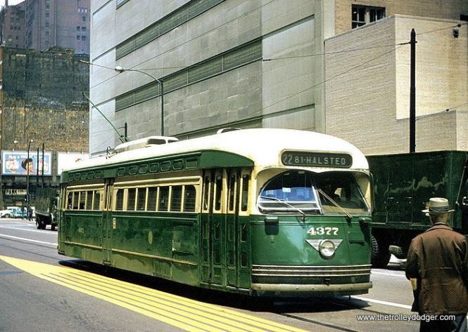 CTA 4377, a product of the St. Louis Car Company, is southbound on Clark Street at Harrison in June 1958. (Joe Testagrose Collection)