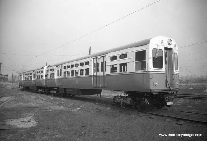 "CTA rapid transit cars 6199-6200, also known as ""flat door"" PCCs, were the final pair built with all-new parts before the wholesale recycling of Chicago's PCC streetcar fleet began. (St. Louis Car Company Photo)"
