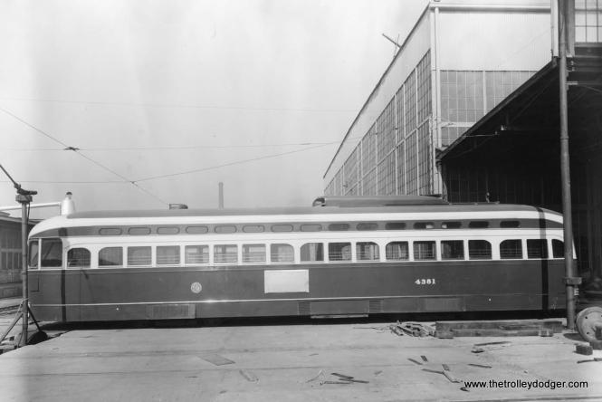 "A St. Louis Car Company photo of CTA 4381. But you can't exactly call this a ""builder's photo,"" since this car was sent to St. Louis in October 1952 to see if it would be feasible to convert streetcars into ""L"" cars. As it turned out, there were too many differences, in floor height for example. Thus it was decided to simply scrap the cars and reuse as many of the parts as possible, or, in some cases, resell them, as SLCC did with some of the backup controllers, which went to St. Louis Public Service."