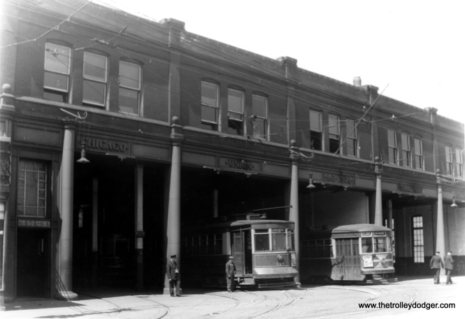 CSL Pullman 149 and Sedan 6280 at Devon Station (car barn) in the 1930s. 6280 was built by CSL in 1929. This building was built by the Chicago Union Traction Co. in 1900. (Edward Frank, Jr. Photo)