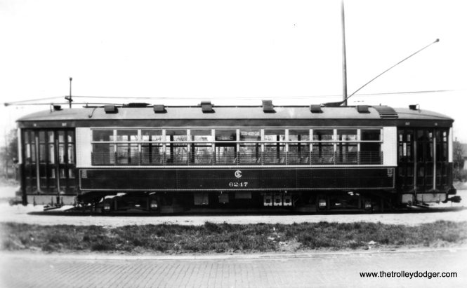 "CSL 6247 at South Shops, signed for Halsted-Archer-Clark. This was another Multiple Unit type car. Don's Rail Photos says, ""6247 was built by Brill Car Co in 1926, #22417. It was rebuilt as one man service in 1932. It was returned as two man service in 1948 and back to one man in 1949."" (Chicago Surface Lines Photo)"