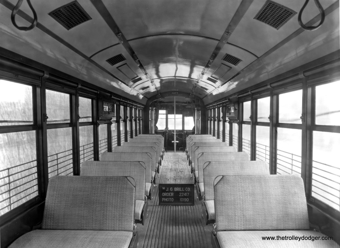 "The as-built interior of CSL 3279. Don's Rail Photos says, ""3279 was built by Brill Car Co in 1926 #22417. It was rebuilt as one man service in 1932. It was returned as two man serive in 1948 and back as one man in 1949."" (J. G. Brill Photo, Historical Society of Pennsylvania Collection)"