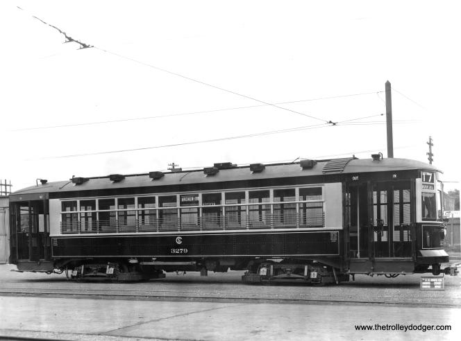 Another 1926 builder's photo of 3279 at the Brill plant in Philadelphia. (J. G. Brill Photo, Historical Society of Philadelphia Collection)