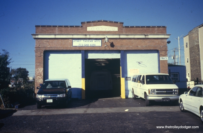 This building, located at 6238 S. Wabash Avenue, is home (2003) to the Jitney Taxicab Association, a limousine service. The building was originally constructed as a wreck wagon barn for the Chicago City Railway Company. View looks west across Wabash Avenue. (William Shapotkin Photo)