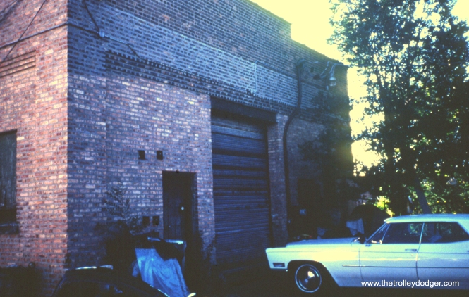 This is the west end of the building located at 6238 S. Wabash Avenue, now home (2003) to the Jitney Taxicab Association-- a limousine service. The building was originally constructed as a wreck wagon barn for the Chicago City Railway Co. View looks east/southeast. (William Shapotkin Photo)