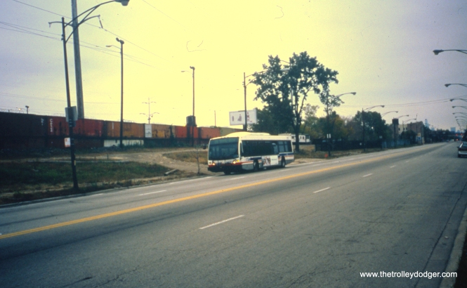 CTA bus #6425, working route 29 - State, is seen heading southbound on State Street past one-time site of the infamous streetcar/gasoline truck collision of May 25, 1950. View looks north. (William Shapotkin Photo)