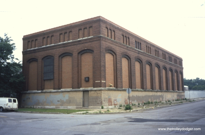 "A CTA substation located on the southwest corner of 42nd and Wabash, as it appeared on July 30, 2004. Constructed under authority of the Board of Supervising Engineers, Chicago Traction, it originally fed power to the streetcars. It now services the ""L"". View looks southwest. (William Shapotkin Photo)"