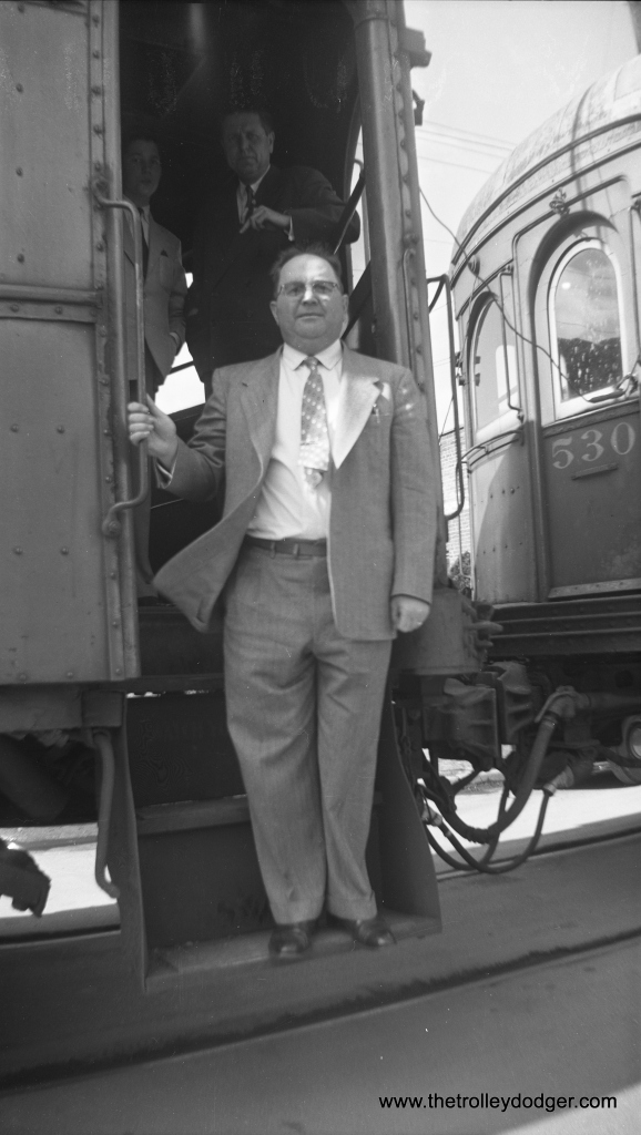 My guess is that this picture shows the final interurban run on the Illinois Terminal, and this man may be the president of the railroad. If so, the date is March 3, 1956. (Glenn L. Sticken Photo) There is another photo of that same train, taken by the same photographer, in our earlier post Historic Chicago Buses, Part Three (November 23, 2015).