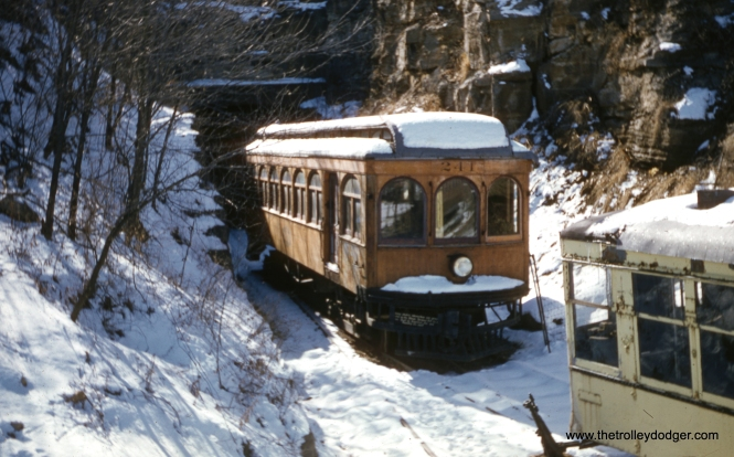 "Illinois Terminal car 241 at the Museum of Transportation in St. Louis in February 1958. Don's Rail Photos says, ""241 was built by American Car & Foundry in July 1907, #5080. It went to the National Museum of Transport on July 25, 1950."""