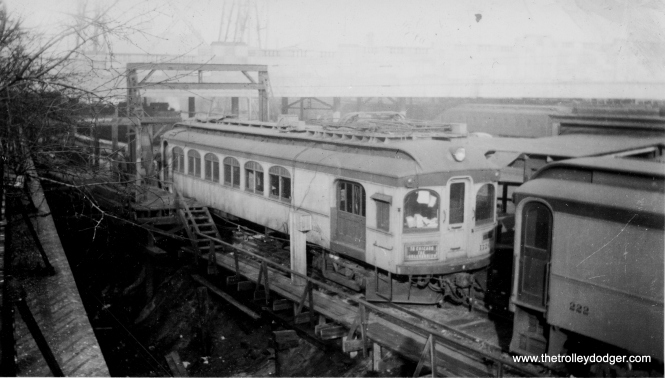 "This rare photo of South Shore Line car 1126, signed ""To Chicago, the Boulevardier,"" is dated February 14, 1939, although I do not know whether that is the date the picture was taken, or when it was printed. Incredibly, this car survives. As Don's Rail Photos notes, ""1126 was a work motor built by Niles in 1908 as CLS&SB 73. In 1927 it was rebuilt into work motor 1126. In 1941 it was sold and converted to a house. In 1994 it was purchased for restoration from a buyer who had picked it up the month before for back taxes. He really did not want the car, just the land. Bob Harris began restoration in 2005..."" According to a 2015 Chicago Tribune article, the car is now in Murphysboro, Illinois, and is 80% restored."