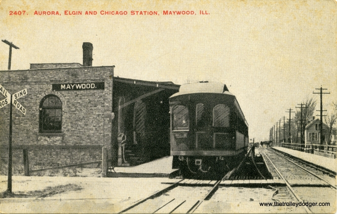 This old postcard photo, which shows obvious signs of being retouched, shows the Fifth Avenue station on the AE&C (later CA&E), most likely in the early 1900s when it was new. We are looking west, and it appears the area was not that built up yet. Contrast this with pictures of the same station in the interurban's waning days, in our post A Cold Last Ride (January 25, 2016). The postcard itself was printed by William G. Hoffman of 4340 Jackson Boulevard in Chicago, apparently no relation to the late railfan photographer Bill Hoffman.