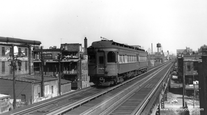 "As a shout-out to Joel Salomon of the Rockhill Trolley Museum, here is a picture of Chicago, Aurora & Elgin 315 in service on the old Garfield Park ""L"". 315 is now part of their collection and they are always on the lookout for pictures of that car. (Joe L. Diaz Photo) This picture was taken somewhere west of Paulina Junction, but not as far west as Western Avenue."