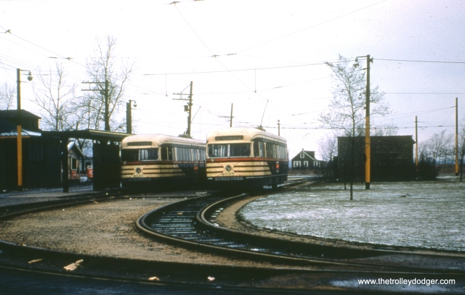 CTA 4010 and 4035 lay over at the expansive loop at 63rd Place and Narragansett in December 1952.