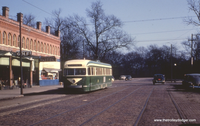 CTA 4029 lays over on 64th Street near Stony Island on March 10, 1952. This was the east end of route 63.