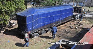 The trolley is just about ready to be moved from Weyauwega to its new home in Grass Lake, Michigan. (Rosie Rowe Photo)