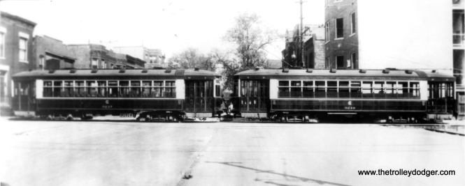 CSL 3246 and 3247 operating in tandem in the 1920s. Andre Kristopans has pointed out that two cars would have used but a single trolley pole in order to avoid having the second car run afoul of switches. The location is given as Maypole and Springfield. (CSL Photo)