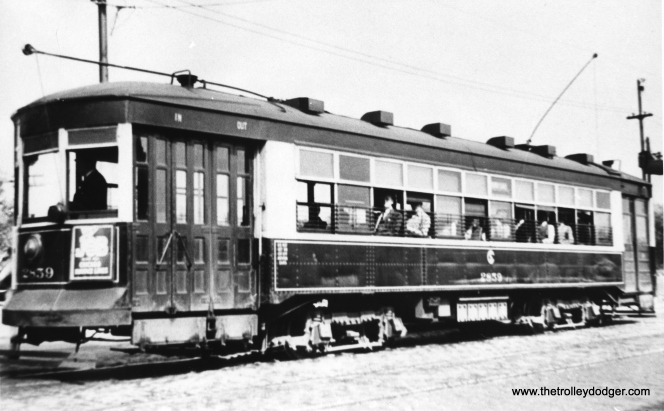 "George Trapp: ""CSL 2859, built in 1924 by CSL for the Calumet & South Chicago to replace a wrecked car."" This is typed as a ""169"" or Broadway-State car."