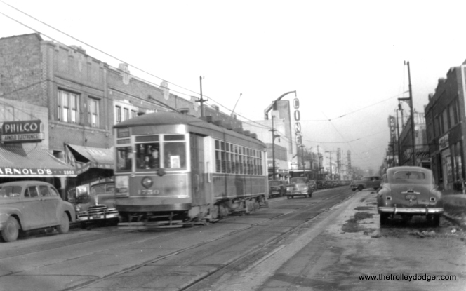 "CSL 1750 near the Cine Theater, at about 2560 W. Devon. Don's Rail Photos says, ""1750 was built by CSL in 1923. It was rebuilt as one-man in 1949."" (Edward Frank, Jr. Photo)"