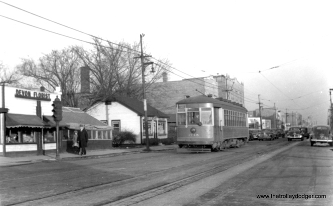 "CSL 1745 at Devon and Sacramento. As another ""169"" or Broadway-State car, Don's Rail Photos adds, ""1745 was built by CSL in 1923. It was rebuilt as one-man in 1949."" This photo predates the rebuilding since a one-man car of this type would have a white stripe on the front. (Edward Frank, Jr. Photo)"