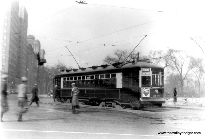 "You might wonder if both poles are up in this 1930s picture of CSL 3178. But there is another car behind this one. I would assume this picture was taken on Clark Street near Lincoln Park, and 3178 is operating as a Broadway car. (Edward Frank, Jr. Photo) George Trapp: ""Car 3178 on Broadway line not Broadway-State in the early 1930's before two lines combined in August of 1937."""