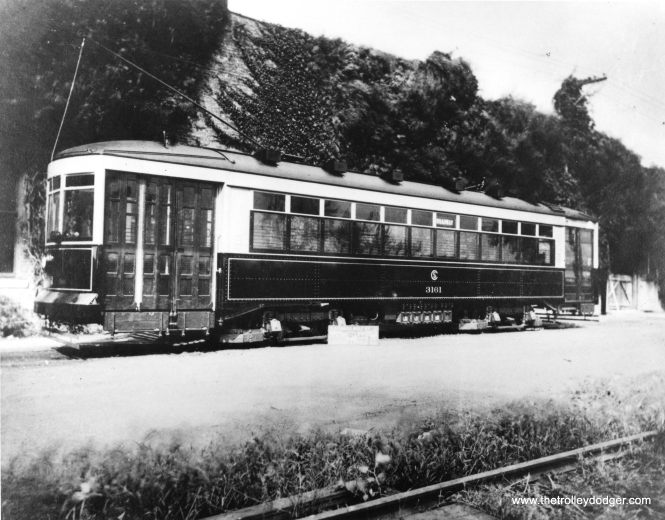 "An early photo of CSL 3161. Don's Rail Photos says, ""3161 was built by Cummings Car Co in 1923. It was rebuilt as one-man in 1949."" This may be a builder's photo at the Cummings plant."