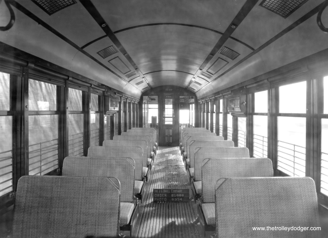 The as-new interior of CSL 3119 at the Brill plant in 1922. (Historical Society of Pennsylvania Photo)