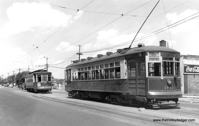 "CSL 1744 and 830 at Western and Howard. The sign on the diner advertises a ""small fry lunch,"" perhaps for children, unless they had a tiny griddle. Another sign at rear promotes the Howard business district. George Trapp: ""The Small Fry Restaurant was a full restaurant that lasted into the 1960's under that name. I believe it was renamed the Small Chalet sometime in the late 1960's."""