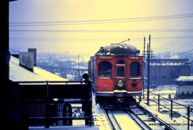 LVT freight motor C-17 approaches Norristown terminal ion the Philadelphia and Western in January 1951. Although the Liberty Bell Limited cars stopped running on the P&W in 1949, freight operations continued right up to the time of the September 1951 abandonment.