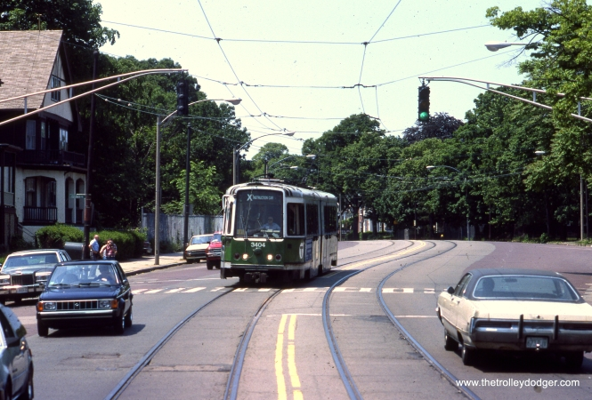 MBTA LRV 3404, signed as an instruction car (probably so regular passengers would not try to board it) on a June 12, 1988 fantrip on Boston's former Watertown line. (Clark Frazier Photo)