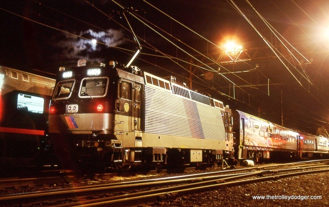 NJT ALP-44 in the yard and under the moon.