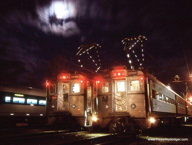 NJT MUs 1331 & 1308 in the moonlight.