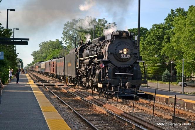 NKP 765 at the Edgebrook Metra station on June 12, 2016. (Melvin Bernero Photo)