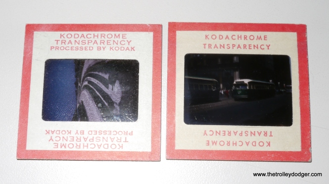 "A comparison of a standard 35mm Kodachrome slide with a ""superslide"" in 828 film format. At 28x40mm as opposed to 24x36mm, the superslide has a nearly 30% larger surface area. Despite the different style of these two slide mounts, these pictures were taken only about one year apart (left 1956, right 1955). There were also 40x40mm superslides using size 127 roll film, taking up nearly the entire area of a standard 2x2"" slide mount, but as far as I know Kodachrome was never made in that format, although Ektachrome certainly was. So, the term superslide can refer to either size 828 or 127 transparencies."