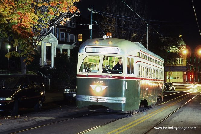 SEPTA historic PCC # 2732. Enough light was flashed on the car to nicely show-off the classic green & cream paint scheme of the Philadelphia Transit Company. West Philadelphia, PA