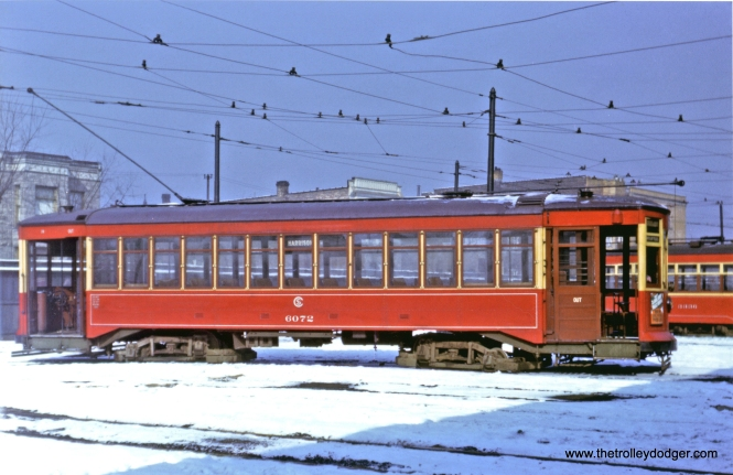 Chicago Surface Lines Brill car 6072 at Kedzie Station on January 28, 1942. (John F. Bromley Collection) I believe this car was built in 1914. You can see part of a Sedan in the background. These were used for fill-in service on Madison along with the prewar PCCs.
