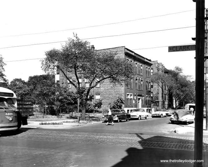 Although CTA postwar PCC 4400 is not front and center in this September 1, 1955 press photograph, taken at Clark and Leland, looking northeast, that is actually part of its charm. This was part of a series showing neighborhood life in Uptown, during a time when streetcars were still a part of everyday life in Chicago. (Ralph Arvidson Photo)