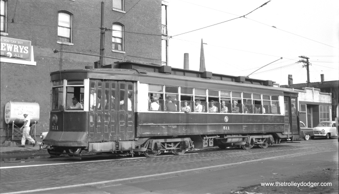 "CTA ""Big Pullman"" 511 at Lake and Paulina Streets on the Ashland Avenue line on August 26, 1953. (Bob Selle Photo)"