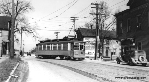 "I believe this is CSL car 2811 on the Riverdale line. If so, this car is part of a series (2801-2815) built by St. Louis Car Company in 1901. Don's Rail Photos says, ""These cars were built for Chicago City Ry and sold to Calumet & South Chicago Railway in 1908. 2811 was built by St Louis Car Co in 1901 as CCRy 2586. It was sold as C&CS 711 in 1908 and renumbered 2811 in 1913. It became CSL 2811 in 1914."" (Joe L. Diaz Photo) Michael Franklin: ""Northbound on Indiana Ave turning west on 134th St."""
